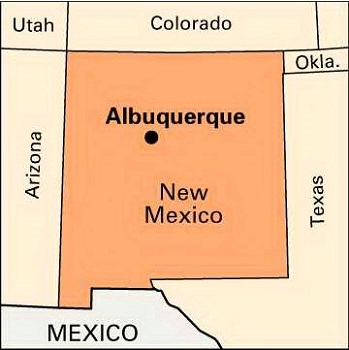 NM state with ABQ map