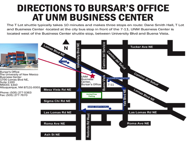 location information for the Bursar's Office